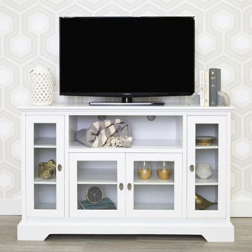White 52 Wood Highboy Tall Tv Stand Console Tall Tv Stands White Tv Stands Tv Stand With Storage