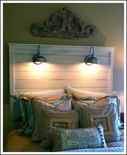 Make your own headboard attach wall lights to it instead of your walls to minimize damage and - Beds attached to the wall ...
