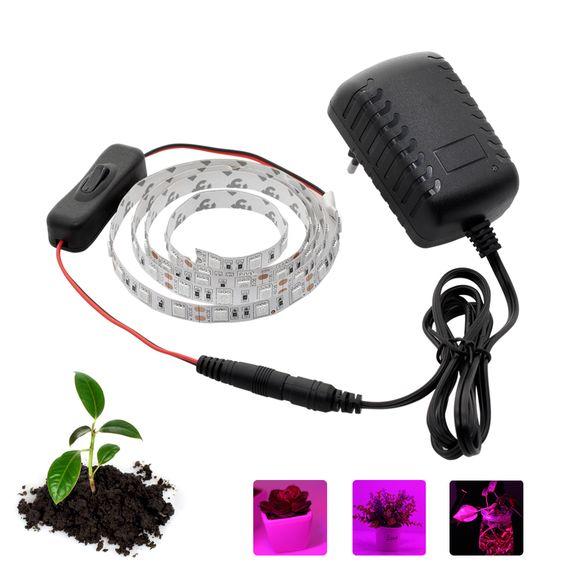 Led לגדול צמיחת אור צמח גידול Led רצועת אורות Dc12v מוגדרת עם מתאם ולעבור לצמחים מקורה ופרח Luces De Crecimiento Interruptor Led