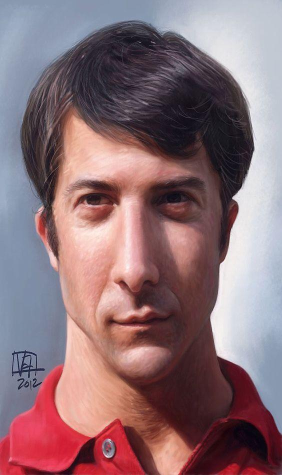 Caricatura de Dustin Hoffman en El graduado.