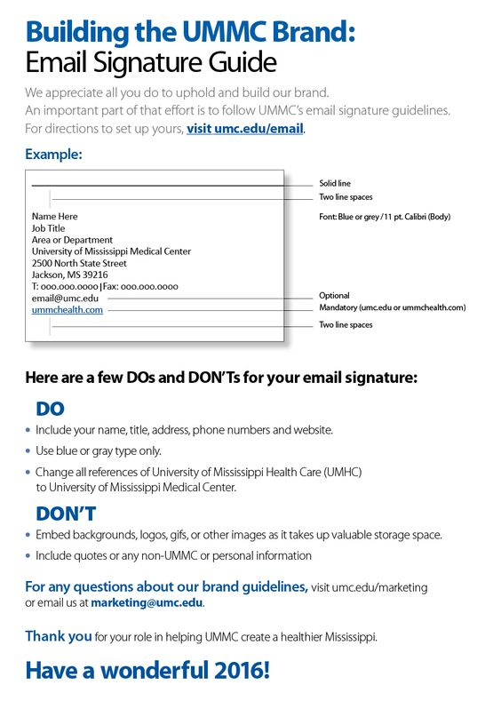 UMMC – Branding - Email Signature Standards - Email Marketing (Jan. 2016)