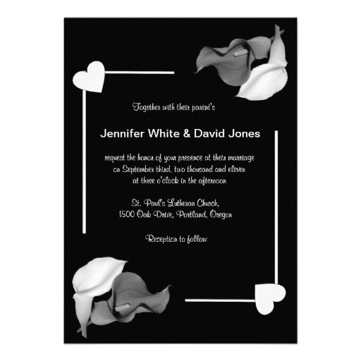 Black  White Calla Lily Wedding Invitation  #timelesstreasure