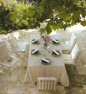 legant outdoor dining in a French courtyard. European Farmhouse and French Country Decorating Style Photos. #outdoordining #frenchcourtyard #provence