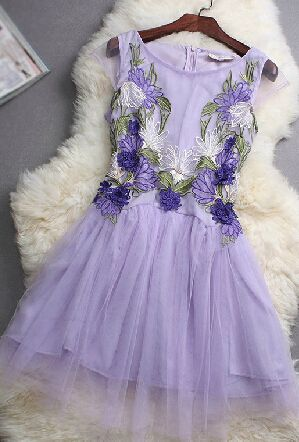 Lotus embroidery dress