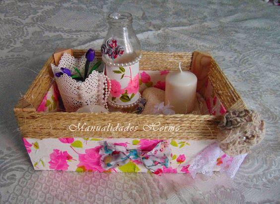 Caja de fresas decorada con servilletas cajas de fruta decoradas pinterest manualidades - Manualidades cajas decoradas ...