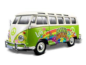 VW Samba Van Hippie Version in Green (1:25 scale by Maisto 32301G)