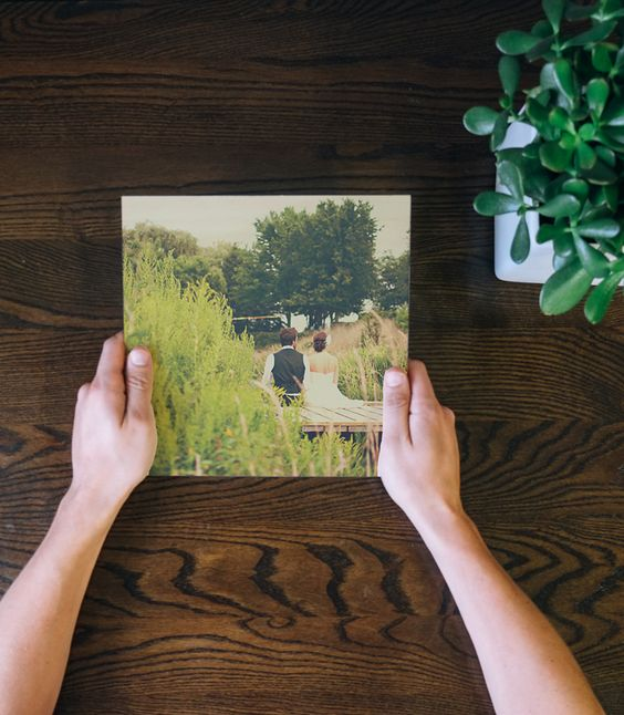 The perfect 5th wedding anniversary gift for him!  Create a wood photo print from your wedding photos.