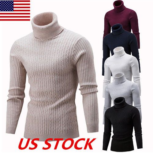 Shirts Knit Pullover Tops High Neck Turtleneck Jumper Men/'s Sweater Winter Slim