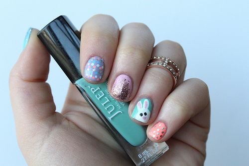 Easter Bunny Manicure Nails | Nail Art #LivingAfterMidnite