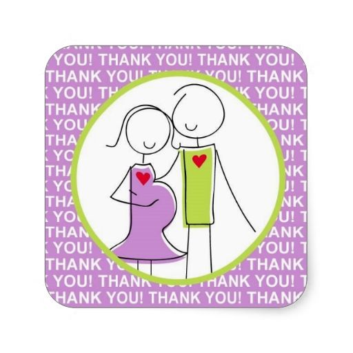 Baby Shower, Couple Thank You Stickers, purple
