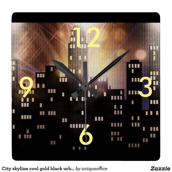 City skyline cool gold black urban office square wall clock