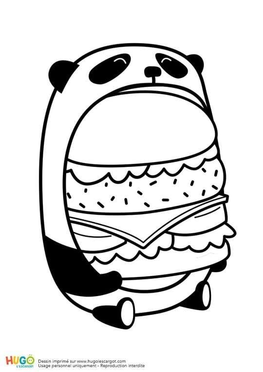 Le Burger Du Panda En Mode Kawaii Coloriage Kawaii Dessin