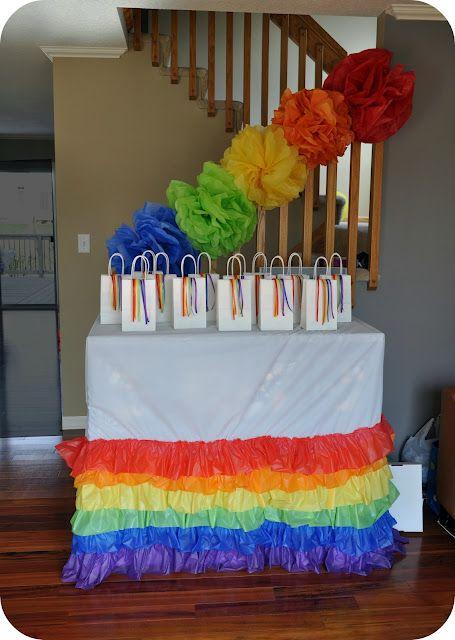 rainbow ruffle table skirt. Cute!