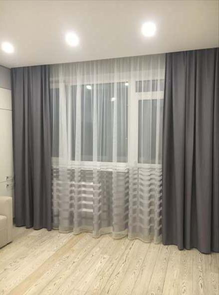 chambre a coucher rideaux gris