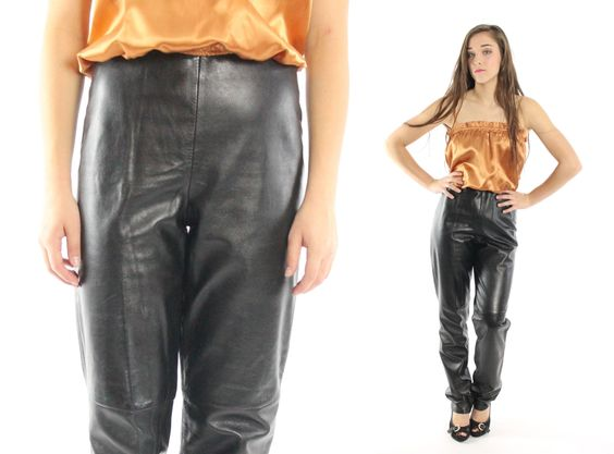 $62, Vintage 80s Leather Pants High Waisted Pants Fitted Pants Black Leather Skinny Jeans 1980s ISABEL Biker Motorcycle Pants Small S Rocker by ScarletFury on Etsy