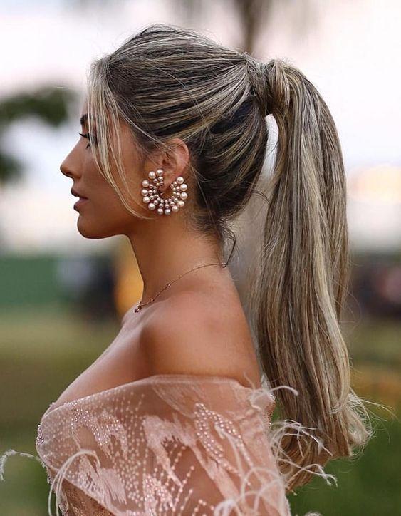 penteados para madrinha rabo de cavalo deslumbrante