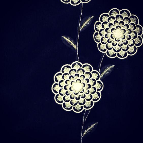 Starburst silver thread embroidery on '60's ebony velvet maxi . In store @ Twisting vintage