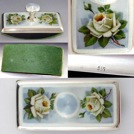 Antique Sterling Silver 935 Guilloche Enamel 5pc Writing Desk Set : Cut Crystal Inkwell, Wax Seal, Blotter, Dip Pen & Letter Opener