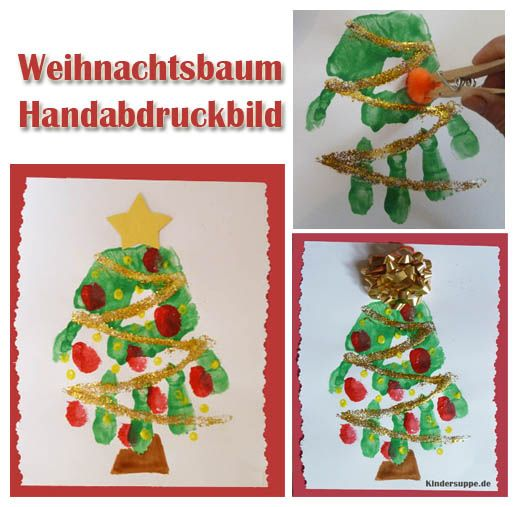 gestalten sie dieses einfache und h bsche weihnachtsbaum handabdruckbild mit ihren kindern an. Black Bedroom Furniture Sets. Home Design Ideas