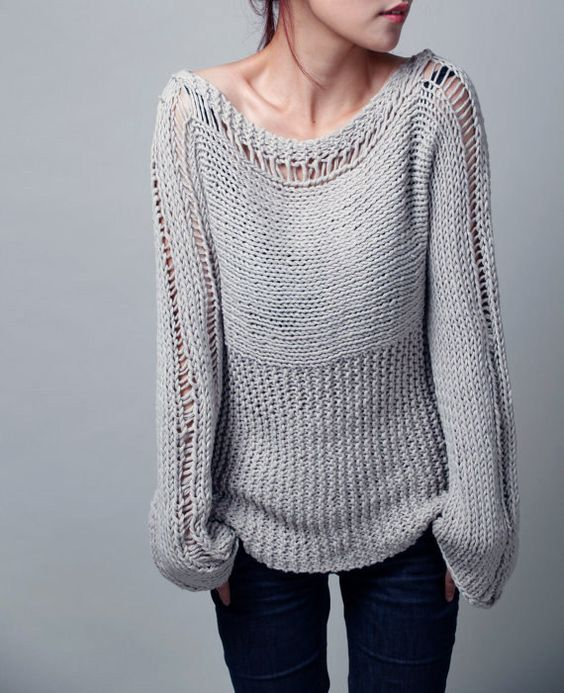 Knitting Expat Etsy : Hand knit woman sweater eco cotton in light grey