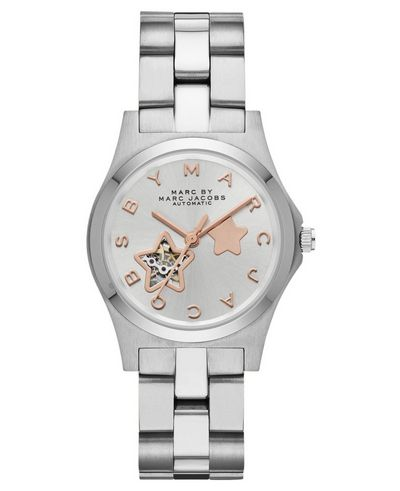Marc by Marc Jacobs Henry Icon Automatic 40MM watch in Silver with Rose Gold detailing and Star cutout