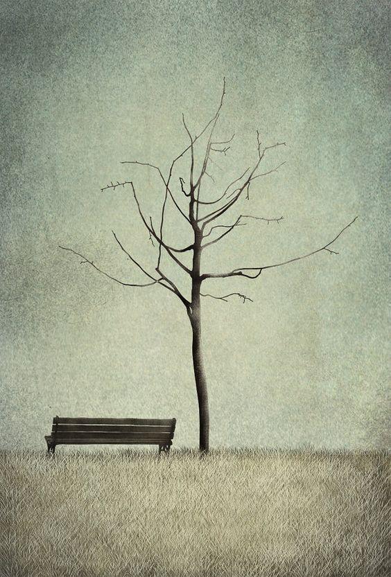 Under the cherry tree - Winter Illustration print by Majalin
