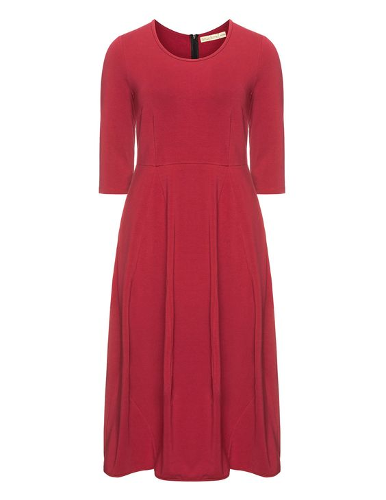Isolde Roth Cotton Tulip dress in Bordeaux-Red