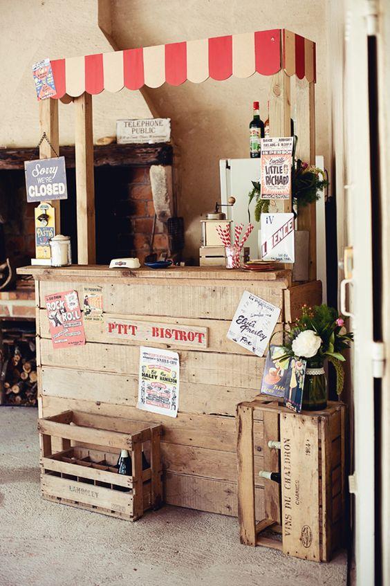 Decoracion stand kermesse for Kiosco bar madera