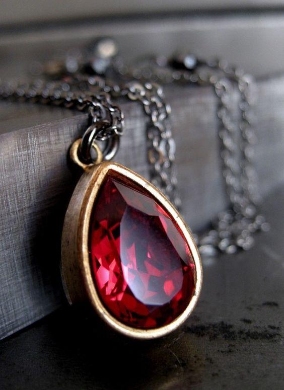 Ruby Red Crystal Necklace Blood Red Vintage Swarovski