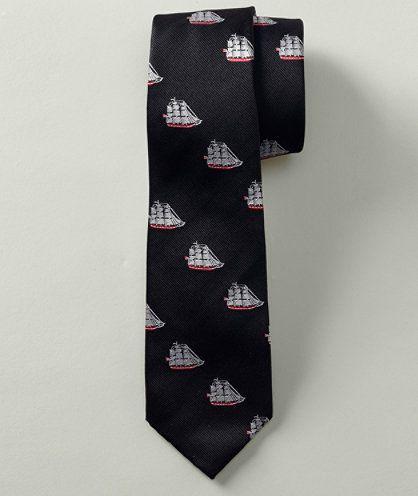 L.L. Bean Signature / black ship motif tie