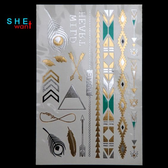 DIY Flash Tattoos Gold Silver Metalic Temporary Tattoos Gold necklace Feather Tattoo