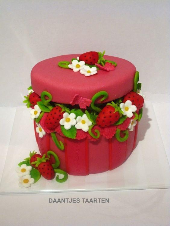 Sweet strawberries in a box cake