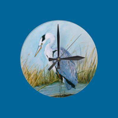 Blue Heron Wall Clock by loreenfinn