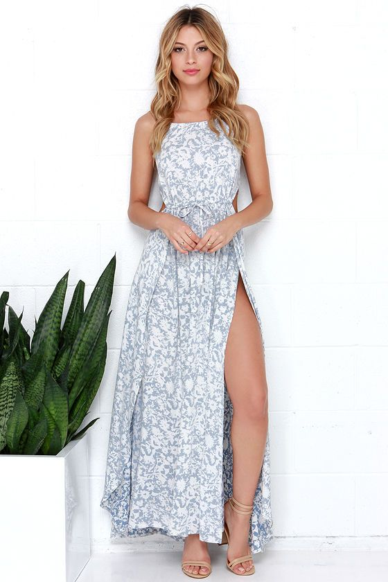 Billabong Sounds of the Sea Blue and Ivory Print Maxi Dress  Sexy ...