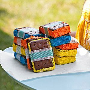 Dress up your ice cream sandwiches with sprinkles! DIY!