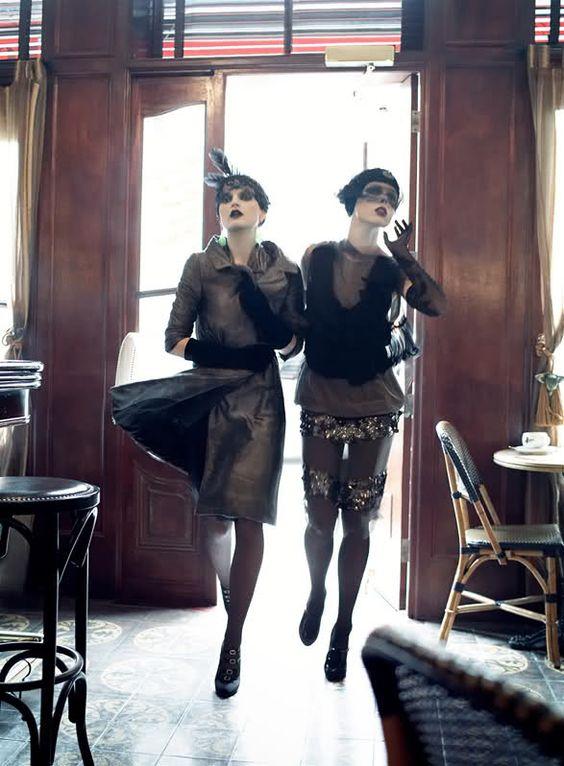 NOIR FAÇADE - The place for fashion editorials. - Paris, je t'aime | Coco, Agyness, Sasha, Caroline by Steven Meisel for Vogue US September 2007