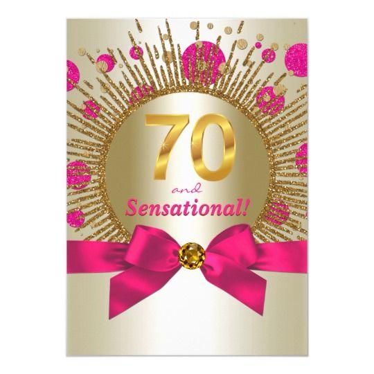 Invitación Fiesta De Cumpleaños Número 70 Fuchsia Gold Para