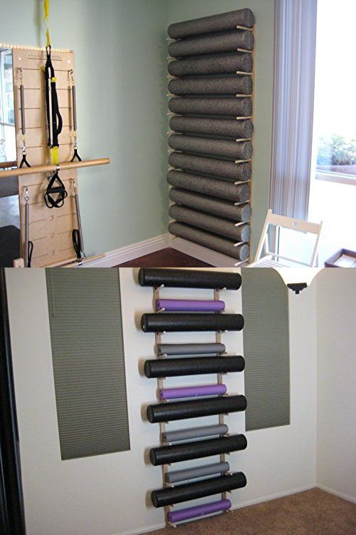 Foam Roller And Yoga Mat Storage Rack Wall Mount In Sustainable Hardwood 3 6 9 12 Space Sizes 1 Set Yoga Mat Storage Storage Rack Foam Roller