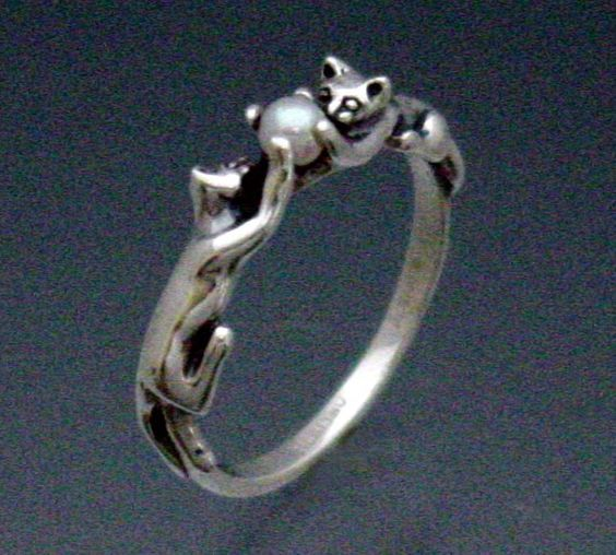 Two Cats Ring with Pearl by SheppardHillDesigns