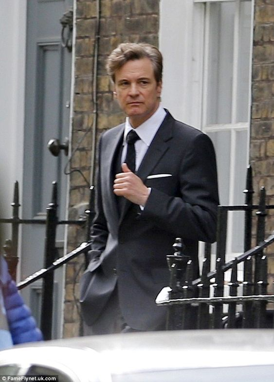 He's back: Colin Firth was spotted for the first time on the set of Bridget Jones's Body on Thursday afternoon in London as he reprised his role as Mark Darcy