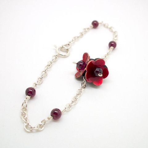 Red Enamel Flower bracelet – the shop of interest