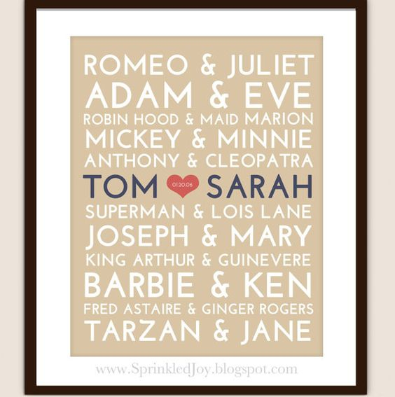 Famous couples plus one--cute idea for a wedding gift!