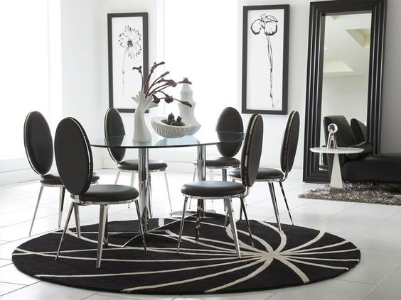 Who said your dining room can't be a contemporary black and white affair? This is the Havana Dining collection from CORT!: Cort Furniture, Dining Room Sets, Havana Dining, Black And White, Design Interiors, Belina Dining, Contemporary Black, Black White, Black Dining Rooms