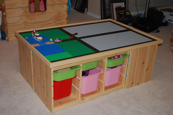 DIY LEGO table...: Diy Lego, Lego Table Ikea, Ikea Storage, Bases Pushed, Lego Storage, Covered Train, Kids Legos, Boy Zzz, Children S Storage