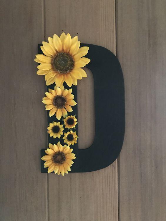 Wooden letter with sunflowers   Sunflower room, Sunflower ...