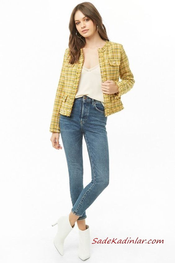 Bayan Pantolon Ceket Kombinleri Mavi Skinny Pantolon Krem Bluz Sari Ekose Desenli Ceket Beyaz Topuklu Bot Ekose Skinny Moda Stilleri
