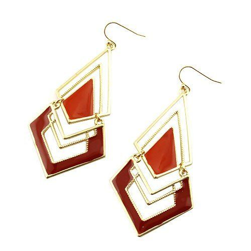"Fashion Dangle Earrings; 2.75"" Drop; Gold Metal; Red Enamel; Eileen's Collection. $16.99. Save 43%!"
