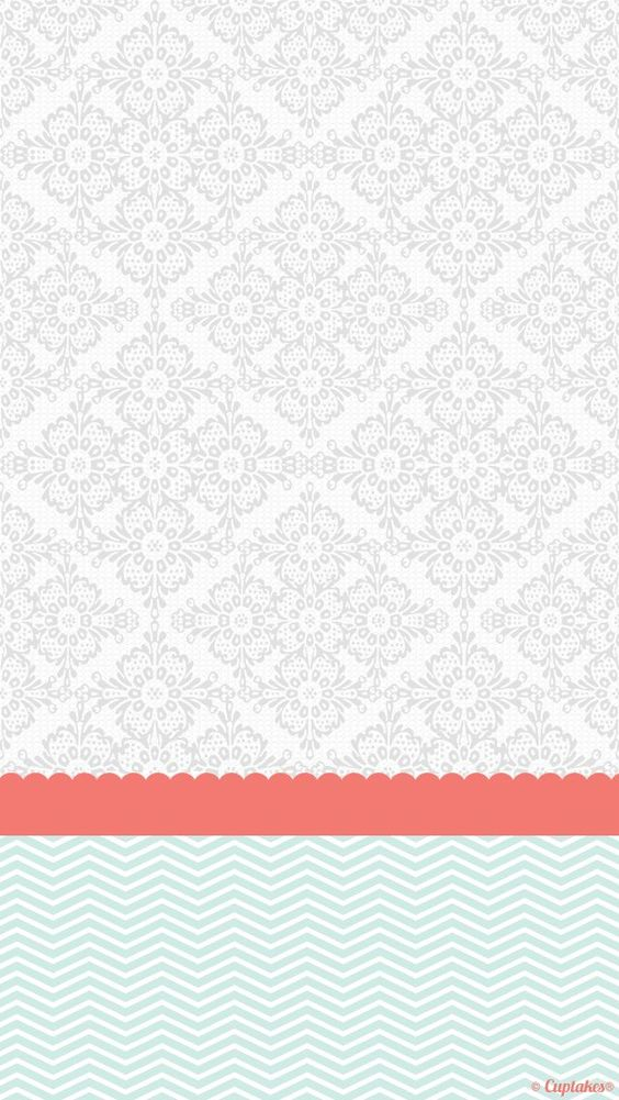 grey coral mint damask chevron iphone phone background
