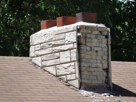 Remodeling FAIL -- Three sides of this chimney looked just fine from a distance (this is from a home inspector article!)