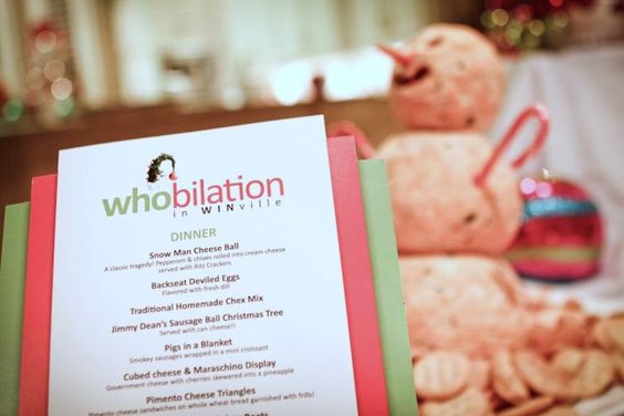 a tacky menu is perfect for a Christmas party whobilation.